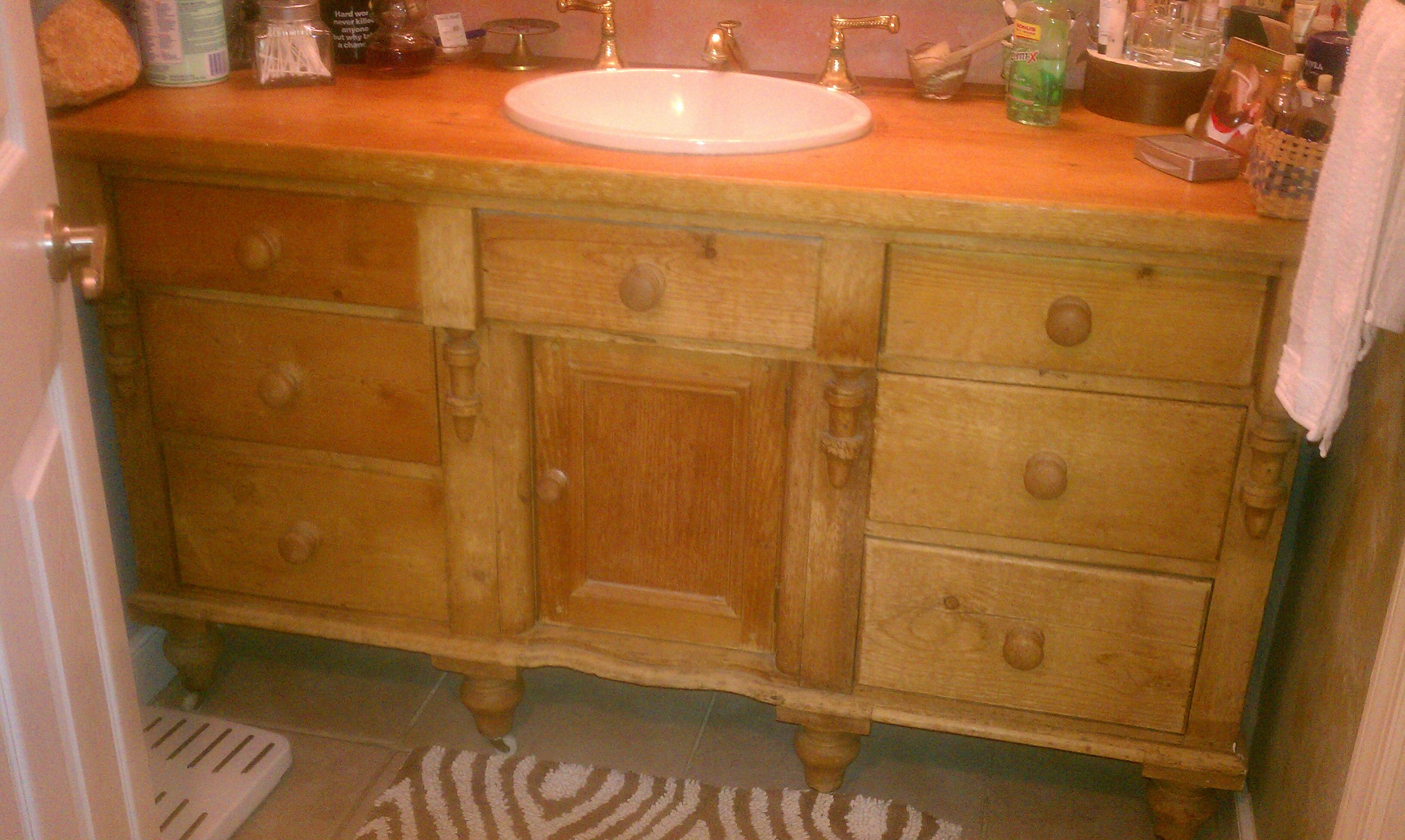 bathroom converted in the edges i left doors dresser either it get wall to remove pin repurposed had trim a on right and both vanity into