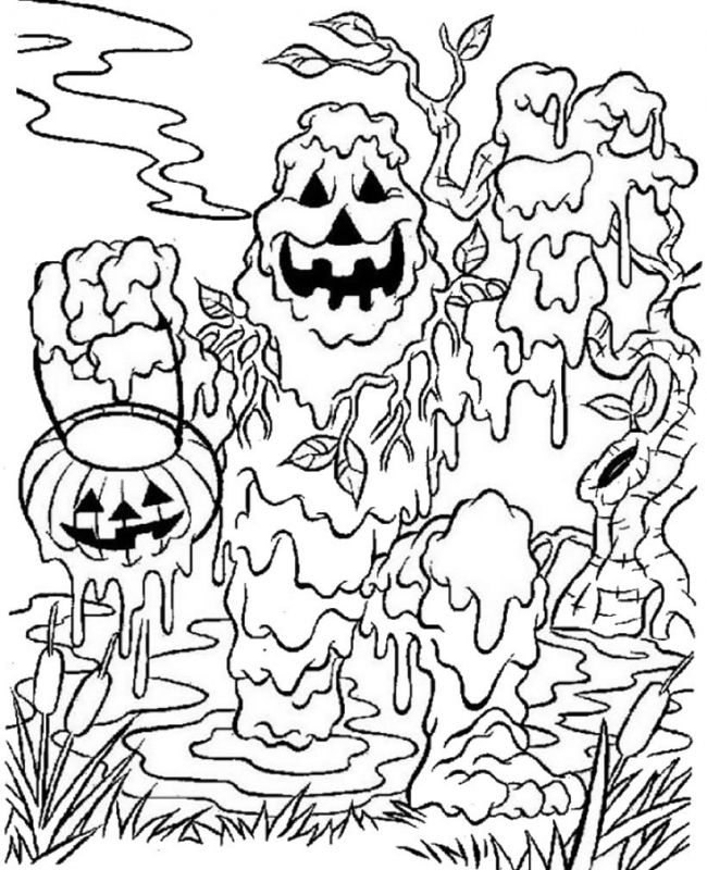 Monster Spooky Halloween Coloring Pages For Kids Hallowen Car ...