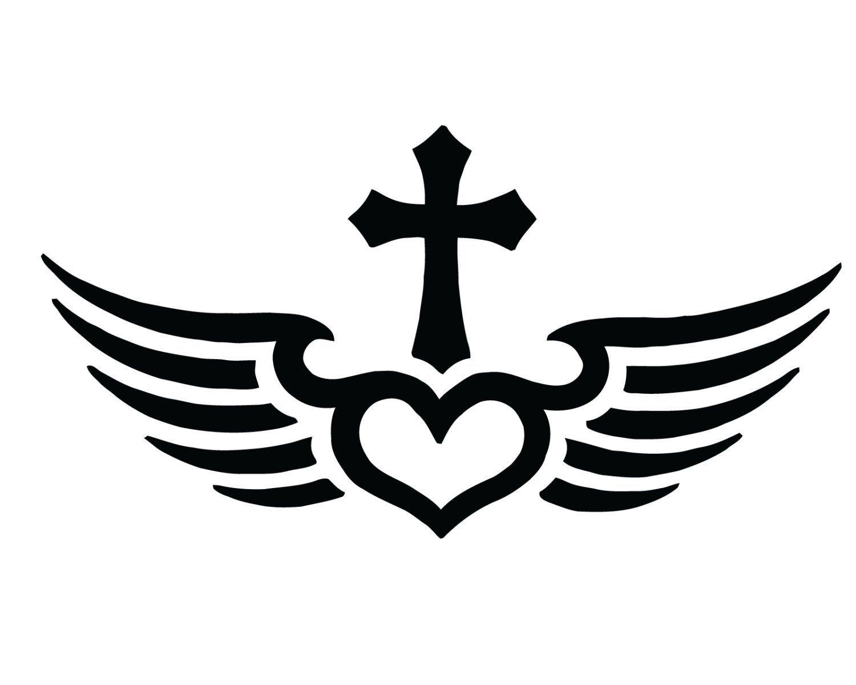 Protected Cross Angel Wings Jesus Custom Vinyl Decal Sticker Car Truck Window