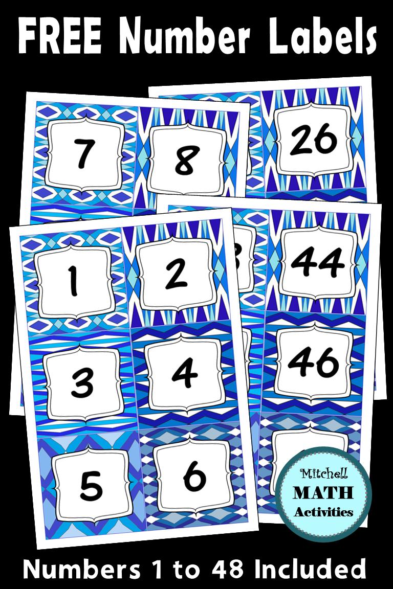 Number Labels Blue Geometric Patterns Number labels