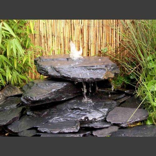 Kaskaden Quellstein grau-schwarzer Schiefer 3teilig Garten