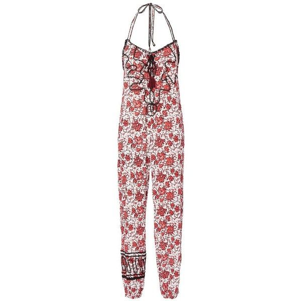 Poupette St Barth Women's Lola Printed Jumpsuit ($325) ❤ liked on Polyvore featuring jumpsuits, floral, poupette st barth, floral halter top, jump suit, red jump suit and red jumpsuit