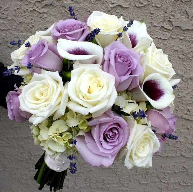 Purple And White Wedding Flower Bouquets: Blue Moon Rose Ivory Rose Calla Lily Hand Tie Wedding