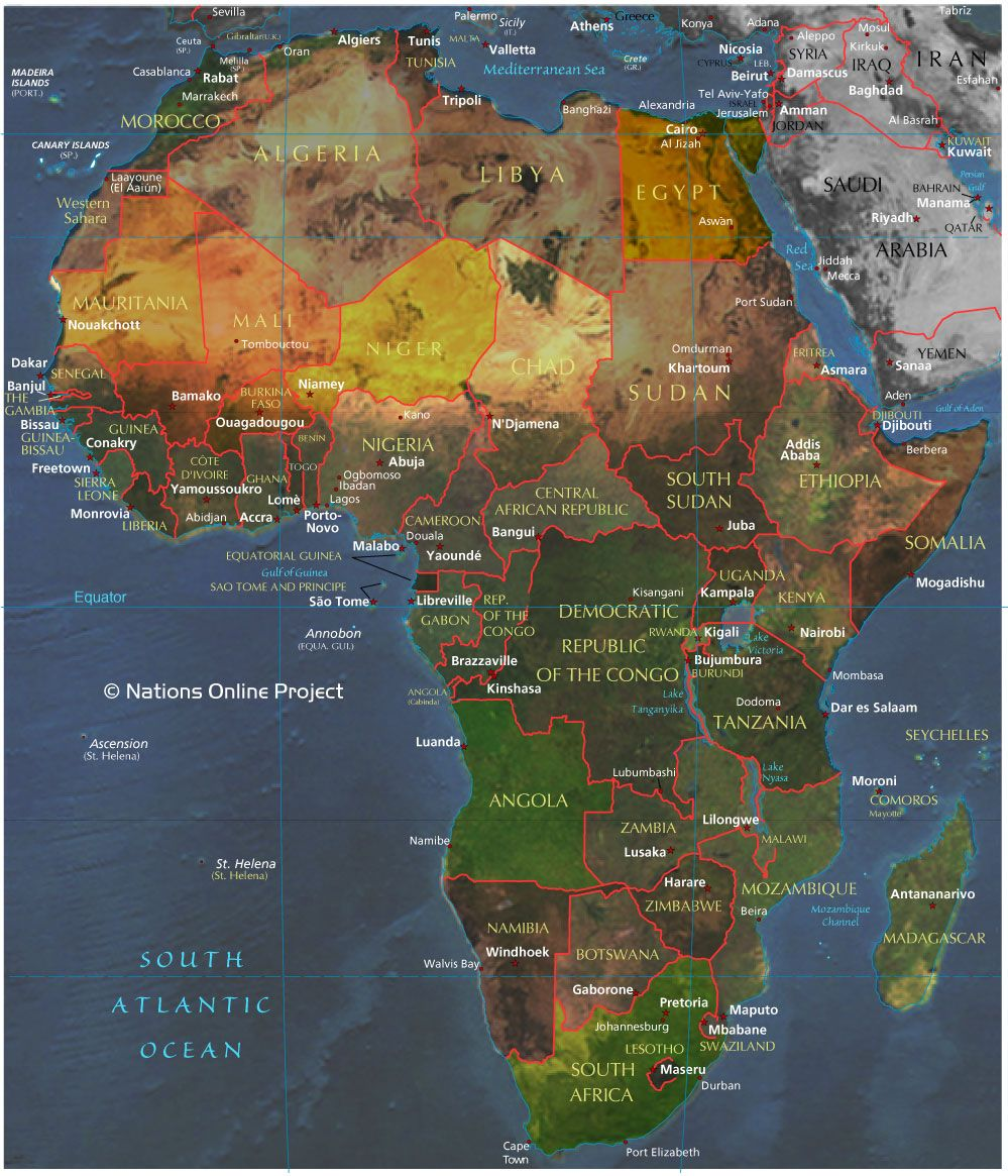 Africa Map Countries And Capitals | Map Of The African Continent With  Countries, Main Cities And Capitals.