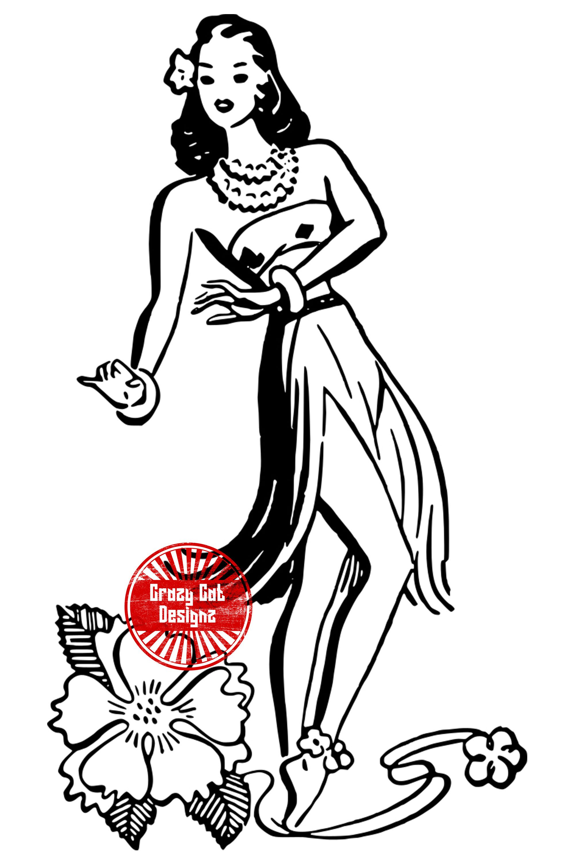 Hula Dancer Silhouette, SVG, PNG, JPG, Clipart, Vector
