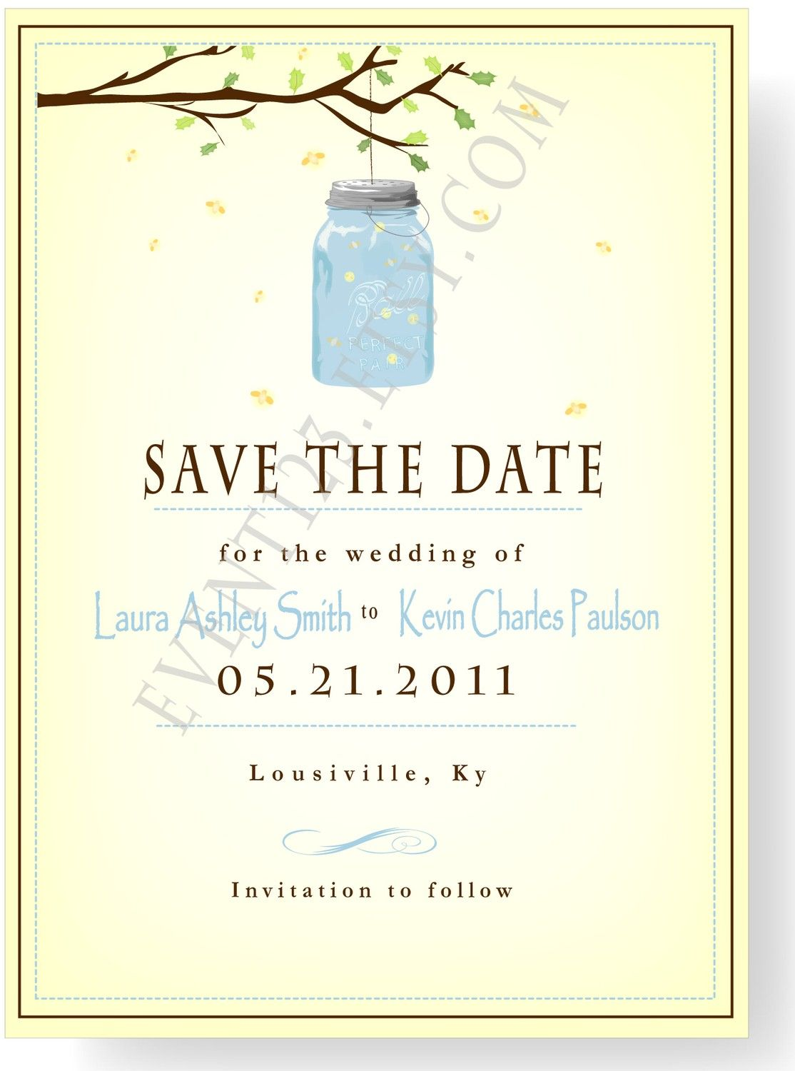Great firefly-Mason Jar Save The Date | Happily Ever After ...