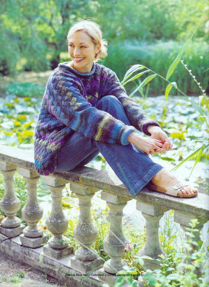 4af522309 Women s Entrelac Jumper in Noro Kureyon - download the FREE knitting pattern  from LoveKnitting