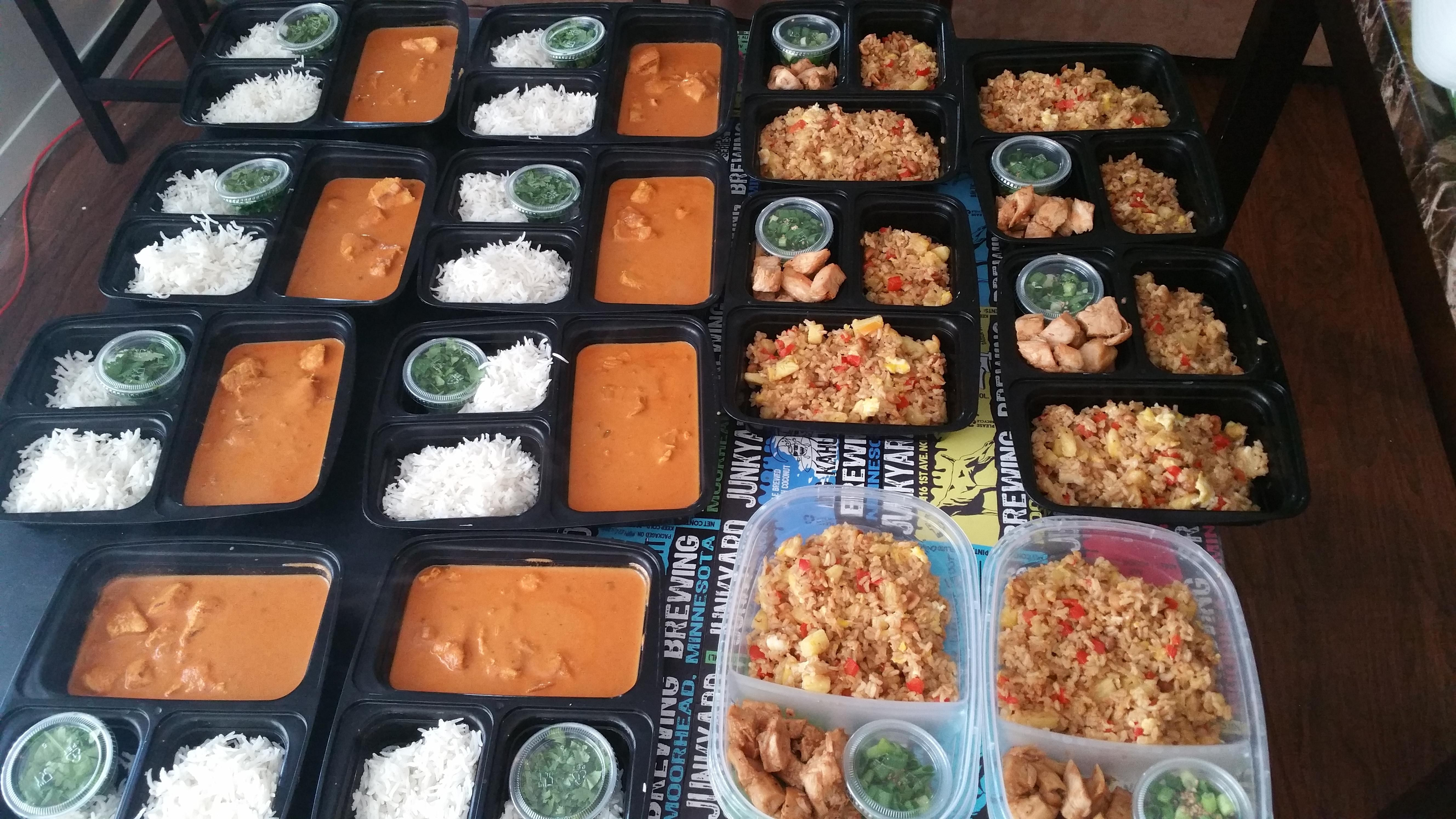 Not your average meal prep! Chicken fried rice bowls and Tikka Masala! #mealprepping #OneSimpleChange #mealprep #healthy #mealplanning #healthyliving #food #weightloss #sunday