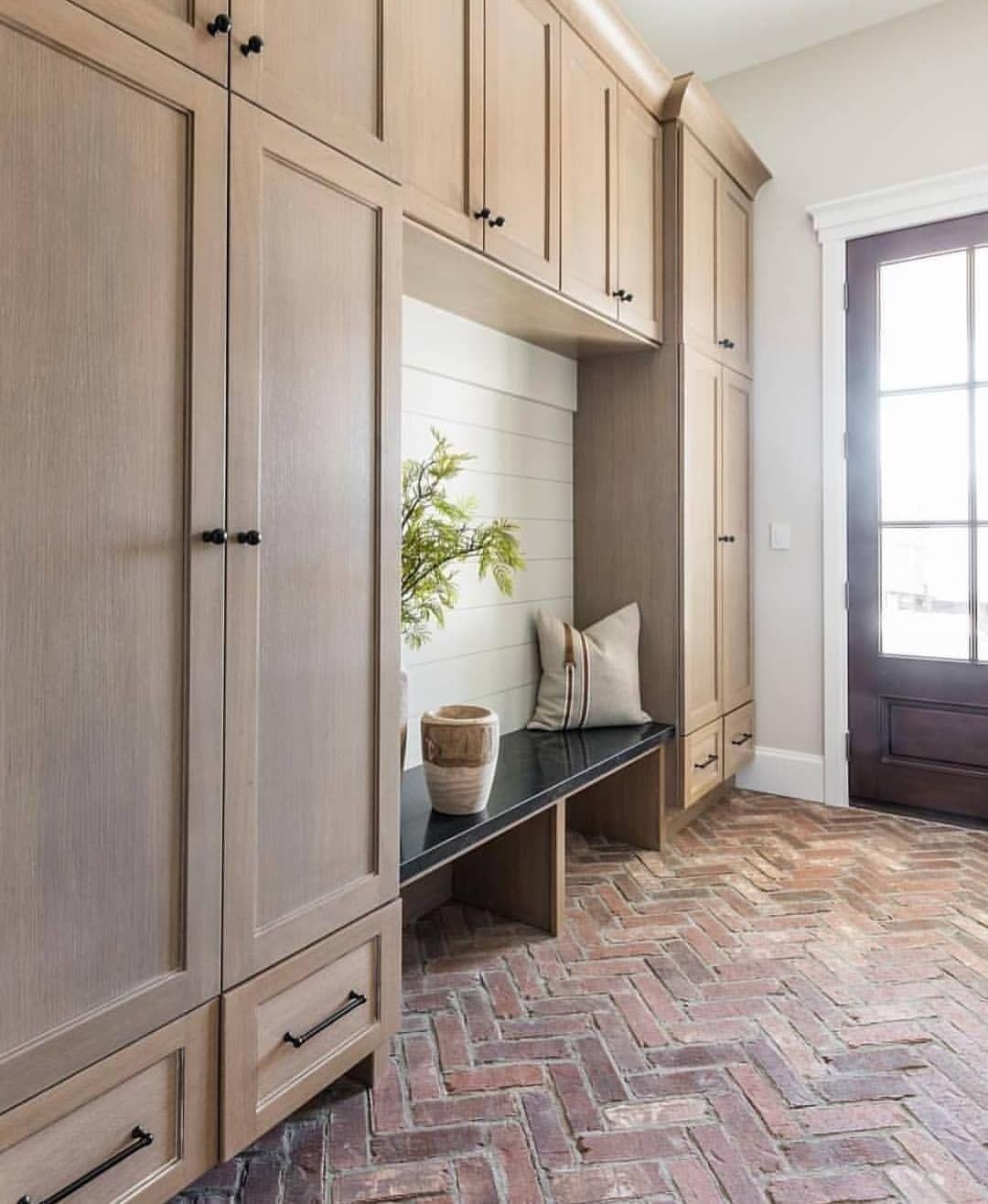Sea Interior Design On Instagram Can T Get Enough Of This Herringbone Brick Floor In This Stunning Mudroom Mudroom Design Mudroom Flooring Built In Lockers