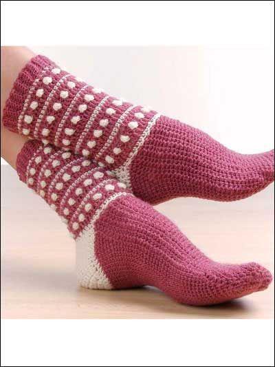 Crochet Sock Pattern Free Polka Dot Popcorn Socks Crochet Socks