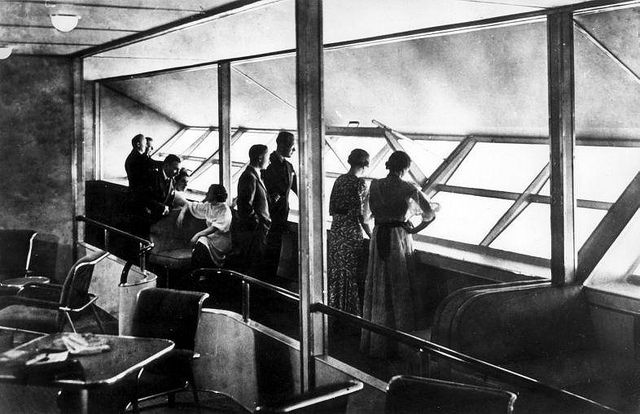Good 75 Years Since The Hindenburg Disaster   The Interior Of The Lounge,  Passenger Windows Could Be Opened.