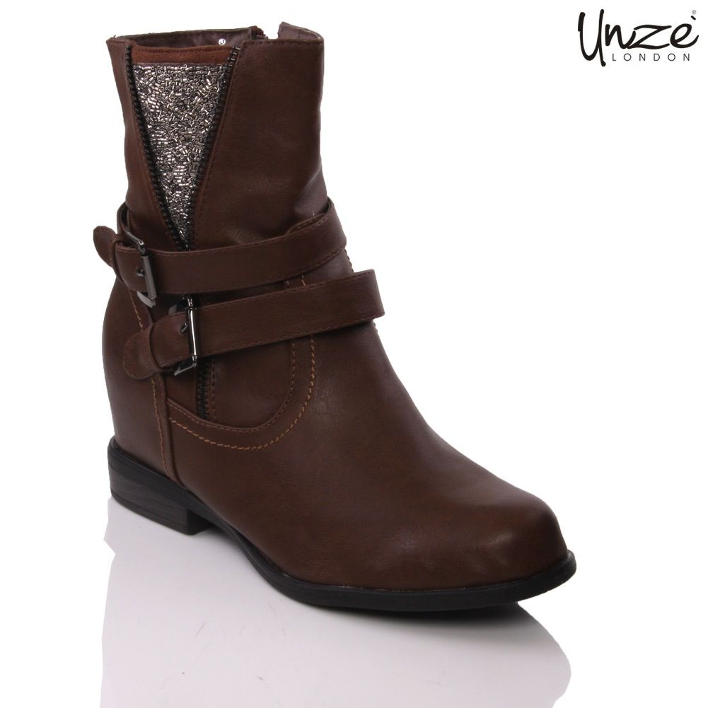 Buy famous shoe brand UNZE London collection of women flat wilma ankle boots  zip closure in brown with appealing styles and fashionable designs, ...