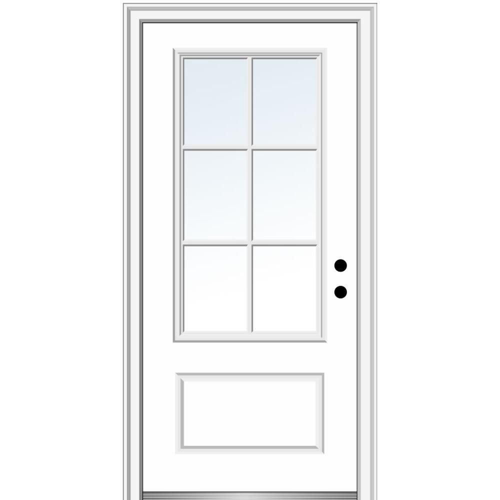 Mmi Door 36 In X 80 In Simulated Divided Lites Left Hand 3 4 Lite Clear 1 Panel Primed Fiberglass Smooth Prehung Front Door Z000655l The Home Depot In 2020 Mmi Door Fiberglass Exterior Doors