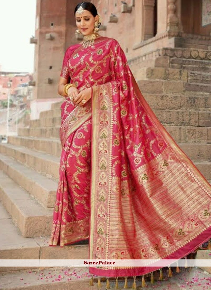 474e1f0bcb2aa Hot Pink Weaving Art Silk Traditional Designer Saree