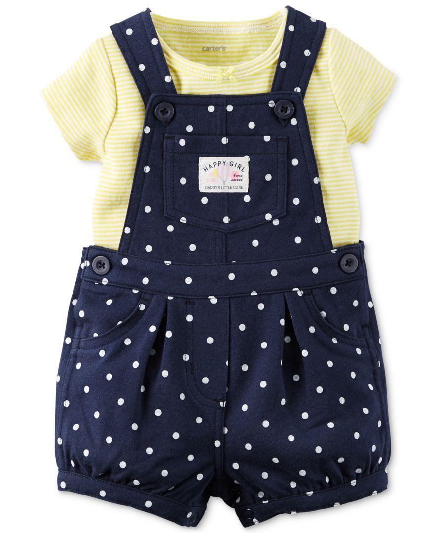9d8137a6b Carter's Baby Girls' 2-Piece T-Shirt & Navy Dot Shortall Set | Baby ...