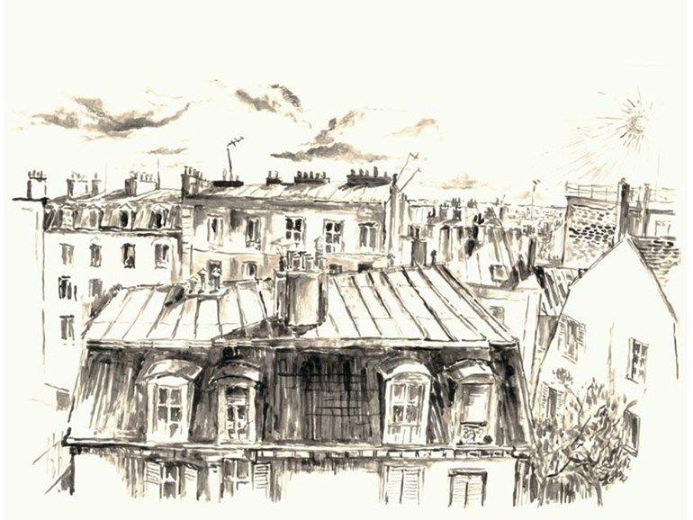 Papier Peint Paysage Panoramique Toits De Paris Collection Croquis