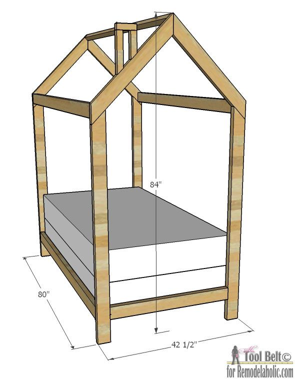 free plans to build a kids bed inspired by this unique house frame twin bed - Twin Bed Box Frame