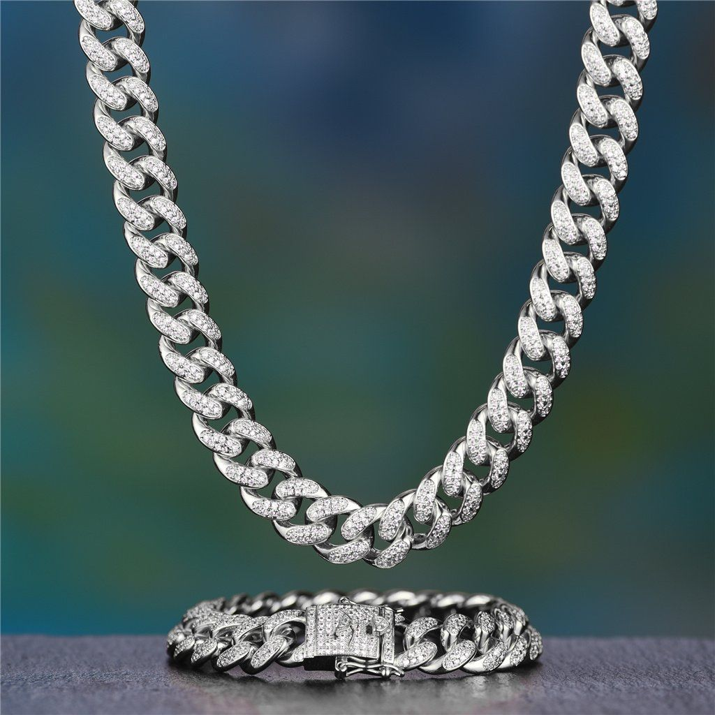 12mm White Gold Iced Cuban Chain And Bracelet Set Cuban Chain