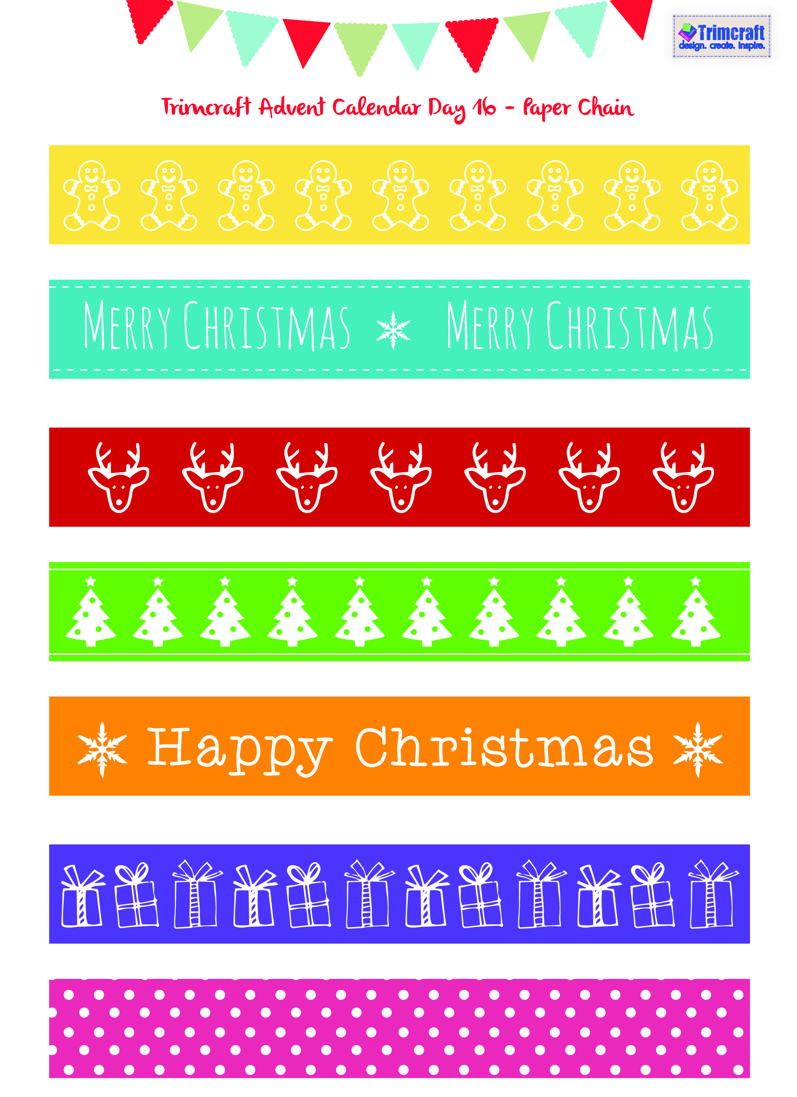 trimcraft advent calendar day 16 christmas paper chain printable kids activities christmas. Black Bedroom Furniture Sets. Home Design Ideas