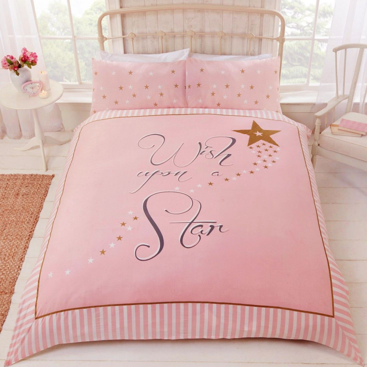 Brilliant Pink And Gold Bedding Applied To Your Home Decor Wish Upon A Star Duvet Cover Set Pink Go Pink And Gold Bedding Duvet Cover Sets Double Duvet Covers