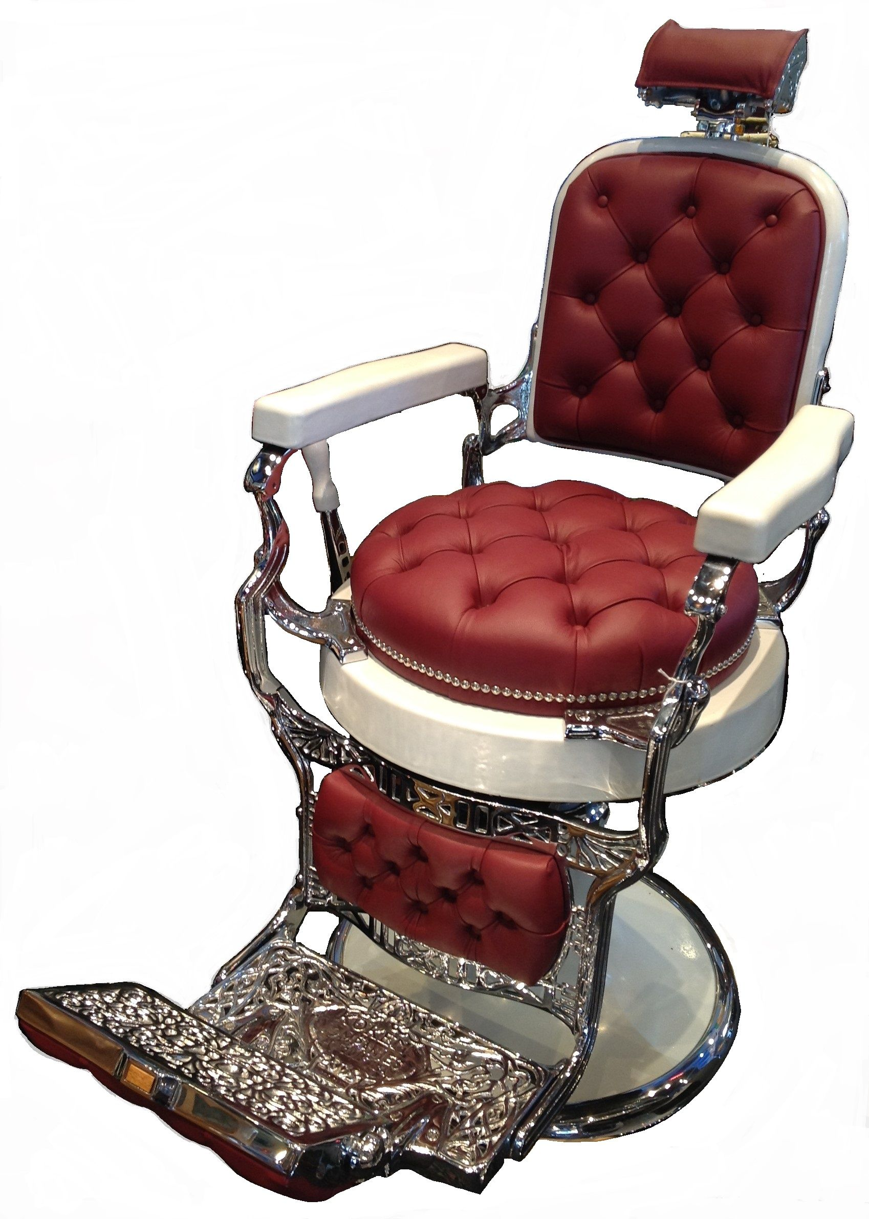 1930s Barber Chair Fully Restored With Red Leather Cushion