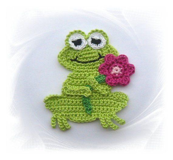 ähnliche Artikel Wie Frog Crochet Applique Frosch Applikation