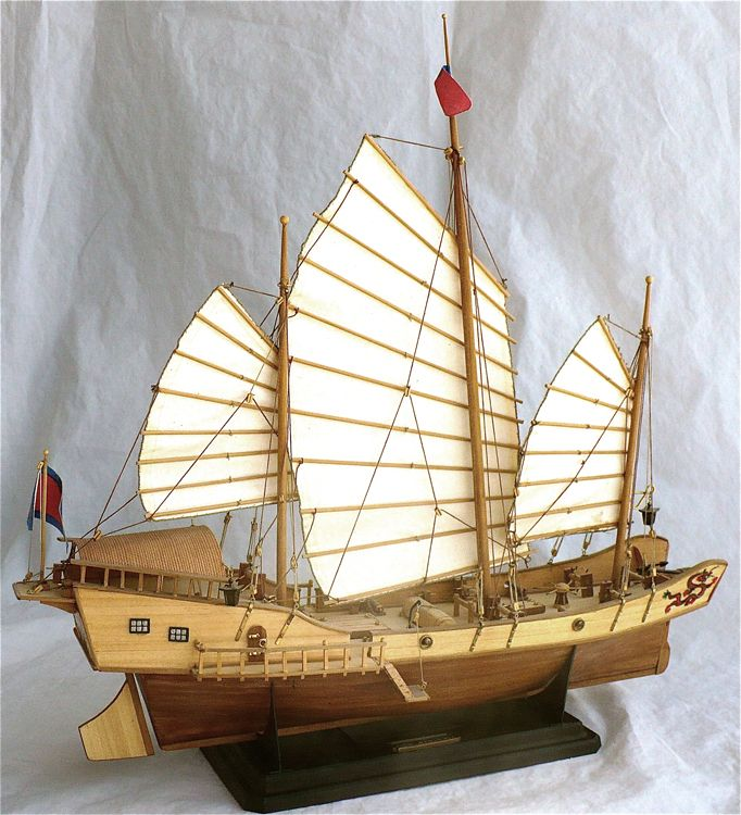 Artesania Latinas 1/60 scale Chinese Junk Red Dragon. These ships plied the rivers and oceans of the far east from Singapore up the northern China.Ships like this had such a sturdy and tough workhorse like design that even to this day there are still similar examples in use. The woods used for this model were Sapelly, African Walnut, Boxwood, Applewood and of coarse Plywood.