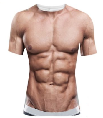 Funny Cool T Shirt Men Women 3d Fake Abs Muscle Man Full Print