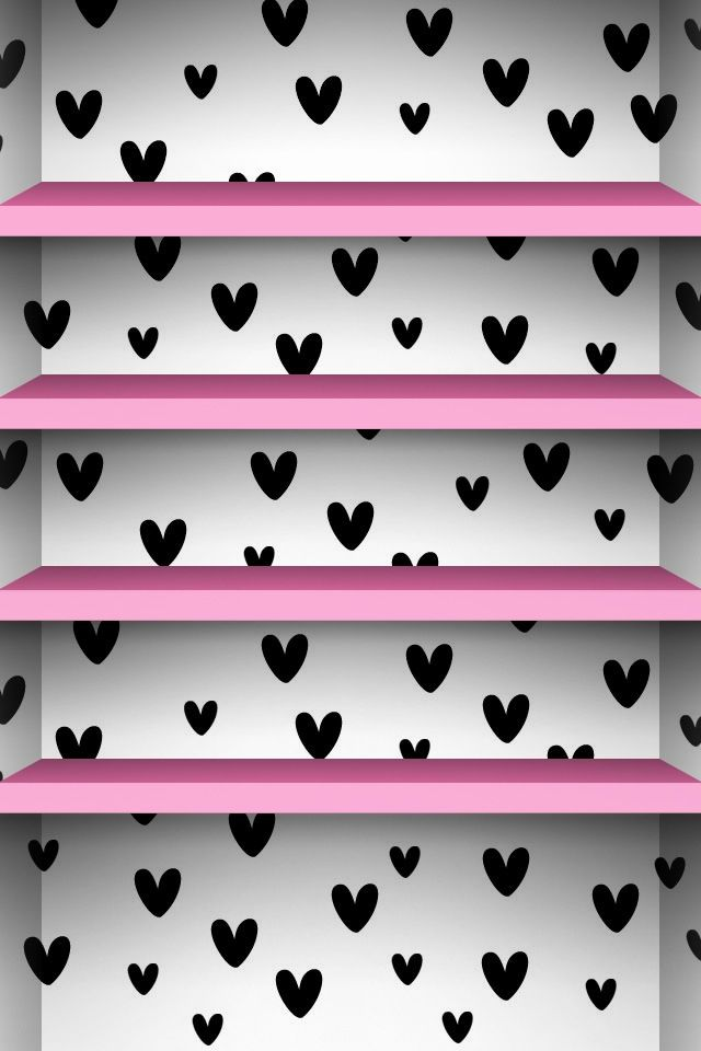 Cute Black White Background With Pink Shelves Android