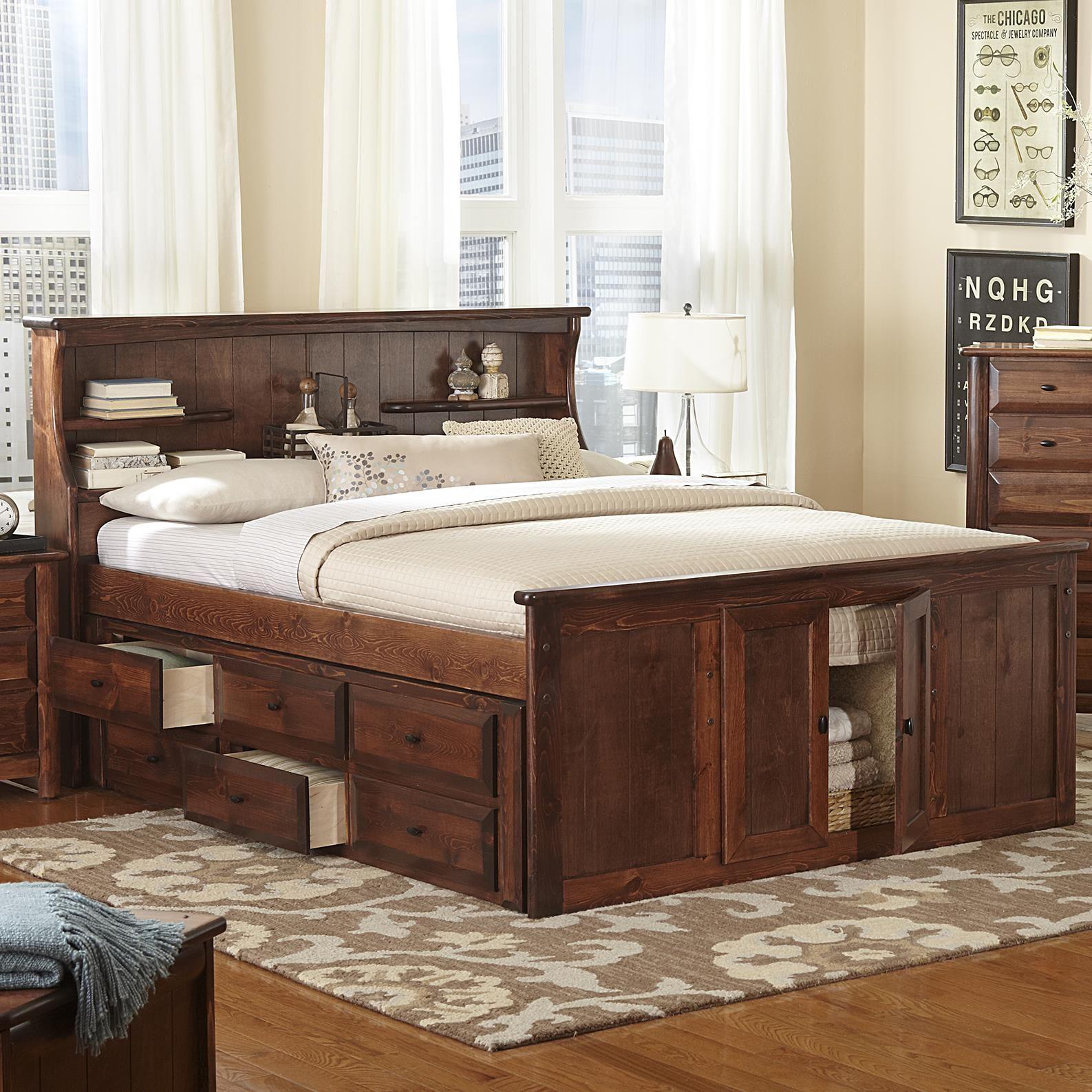 Laguna Queen Book Case Bed w/ Footboard Storage by