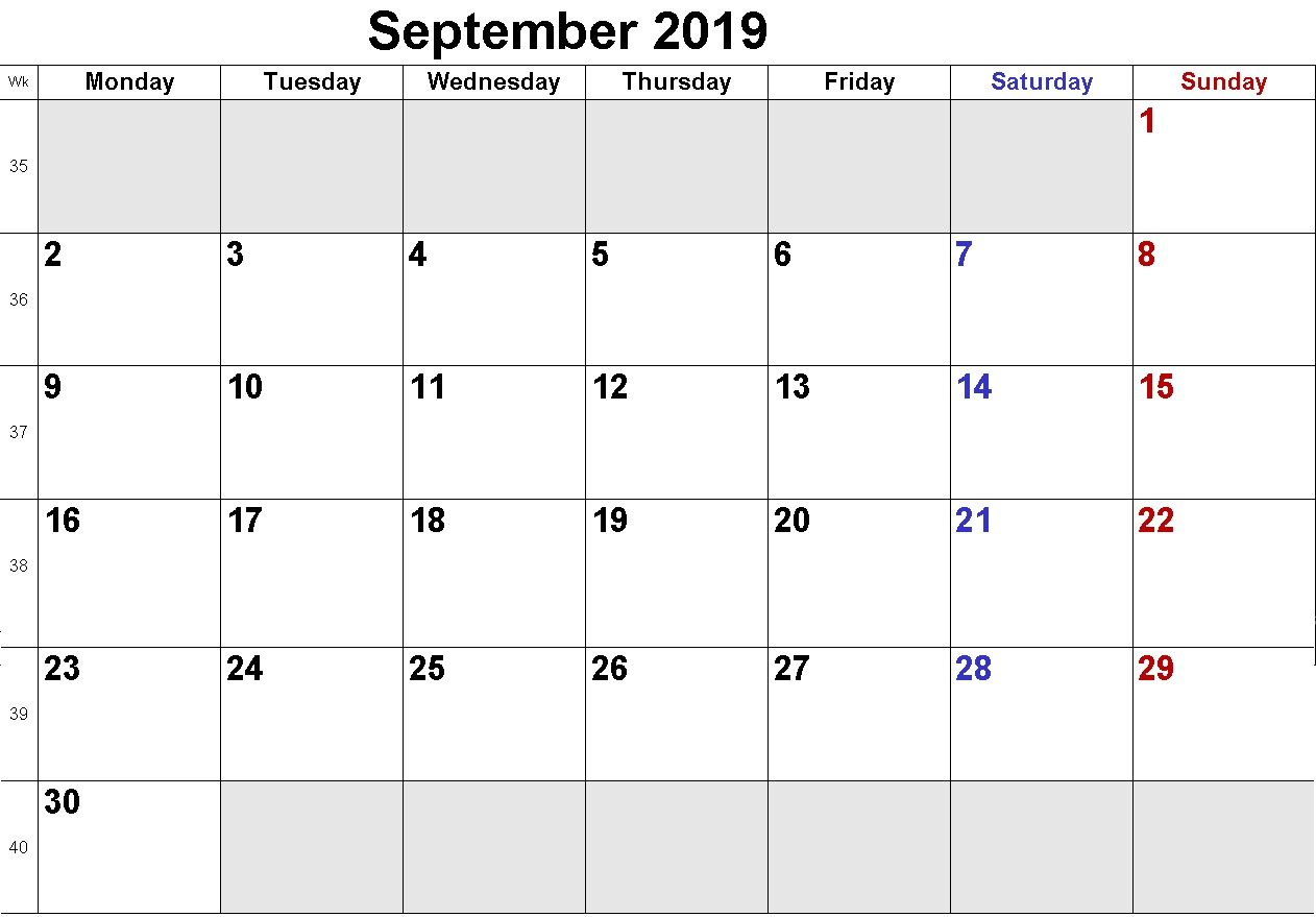 Free September 2019 Calendar Printable calendar pages