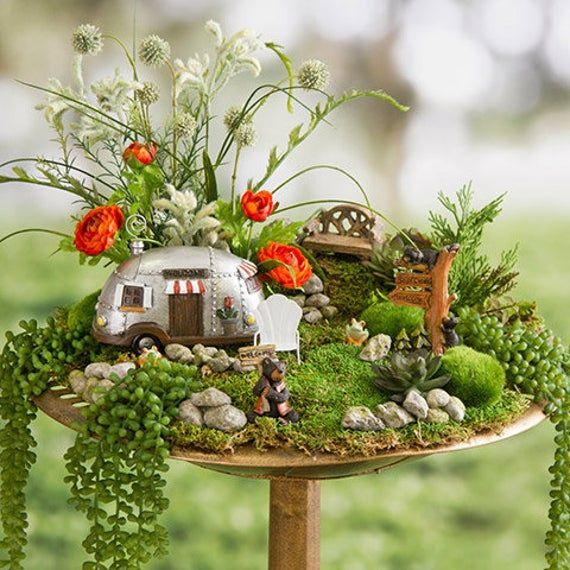 Photo of Mini Fairy Garden Camper House, Fairy Garden Miniature, RV Motor Home, Camper Trailer, Recreational Vehicle, Vacation Home / #30023376D