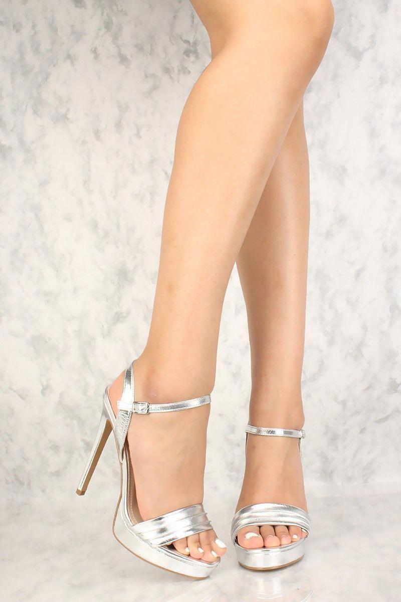 80b568313cd Sexy Silver Metallic Open Toe Platform High Heels Faux Leather   Platformhighheels
