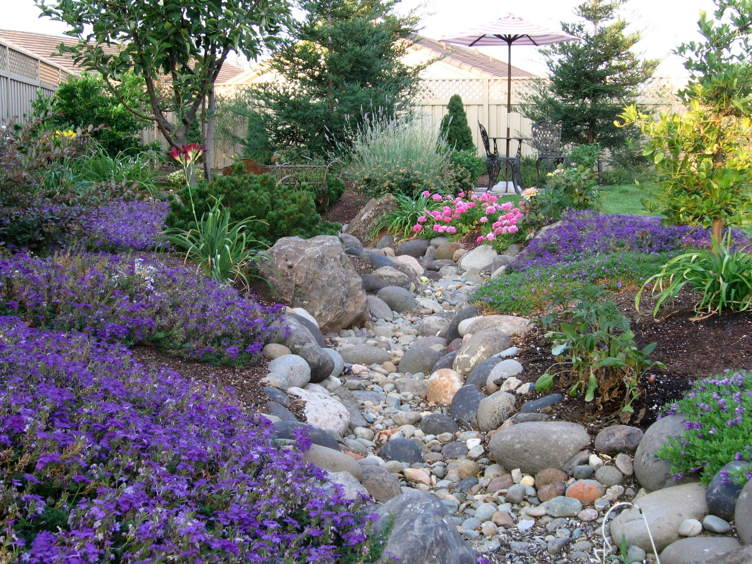 Dry creekbed Sloped backyard, Dry riverbed landscaping