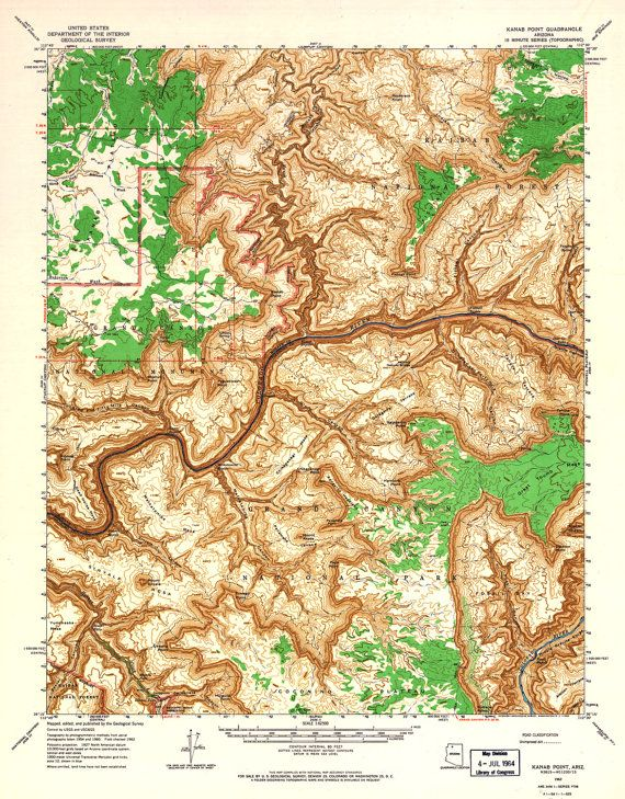 Map of the Grand Canyon print / Arizona Topographic map / National ...