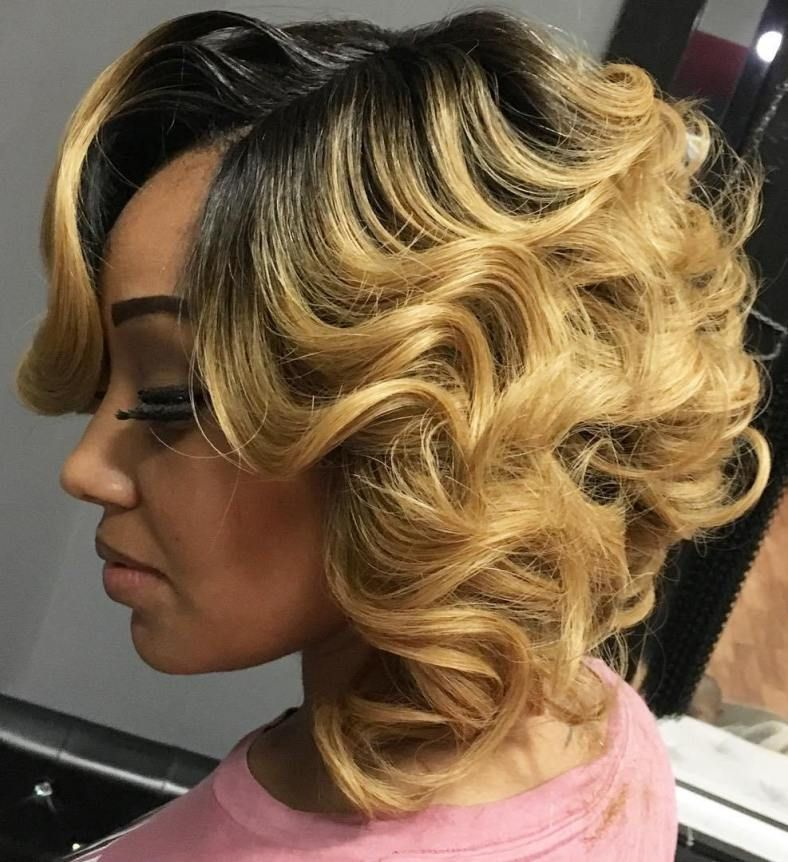 60 Showiest Bob Haircuts For Black Women  Blonde Curly -4981