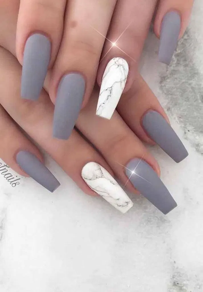 23 Attractive Flash Nails Higlight The Charm Of Women 16 In 2020 Marble Acrylic Nails Matte Nails Design Coffin Nails Matte