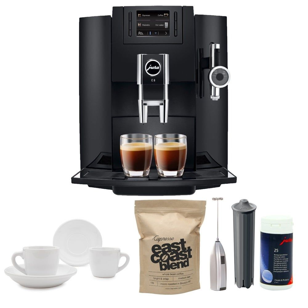 petite Jura E8 Espresso Machine with Milk Frother and Coffee Accessory Bundle (Black)(Metal)