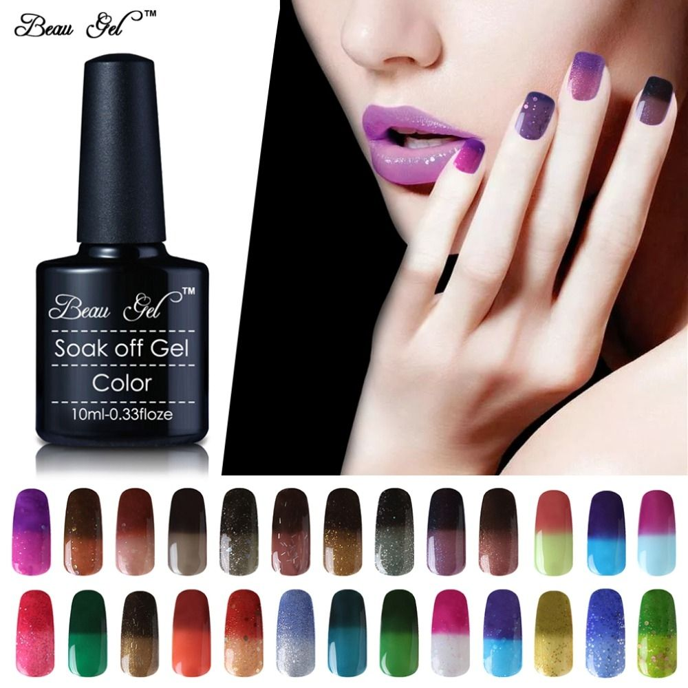 Beau Gel 10ml Temperature Color Changing Nail Gel Polish Long ...