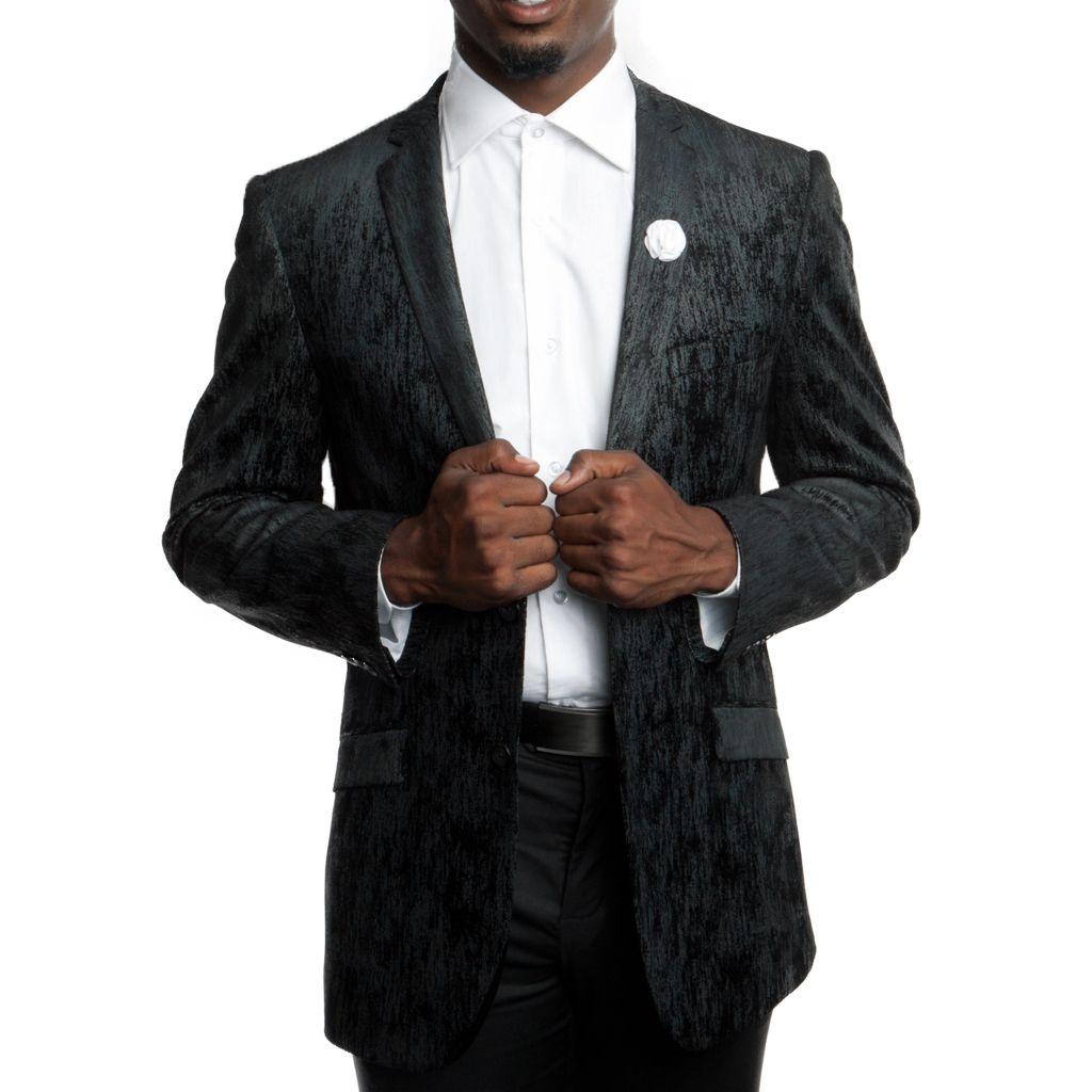Black Fancy Velvet Jacket Slim Fit - Blazer - Prom - Wedding   Prom ...