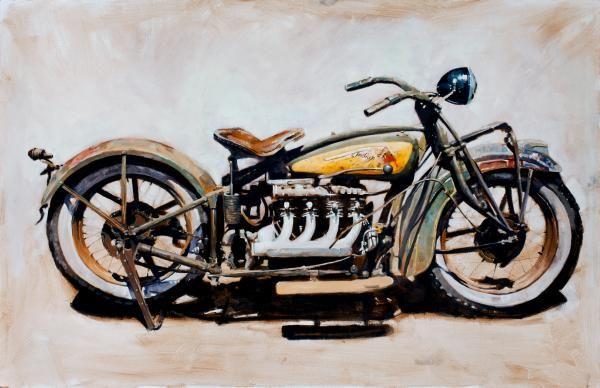 Indian 4 31x48 Oil On Panel Santiago Michalek Motorcyle Oil