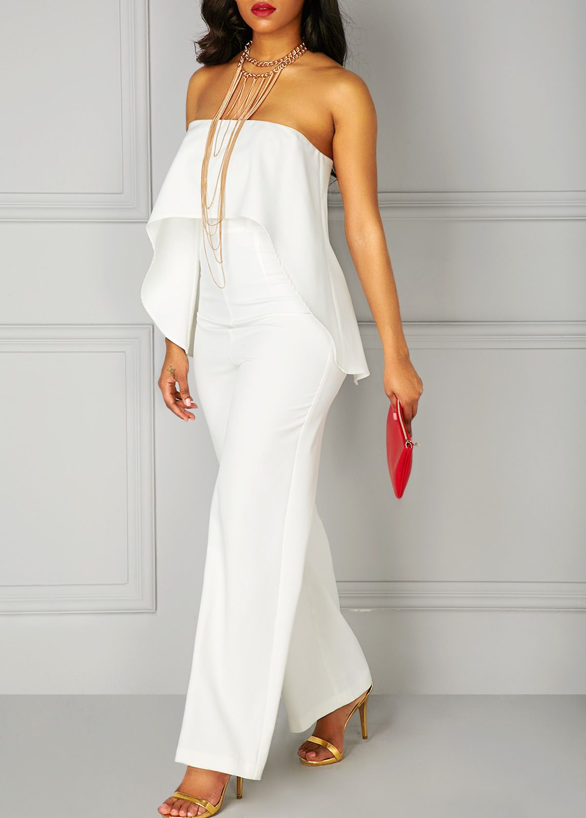 65246c20fb99 White Ruffle Overlay Strapless High Waist Jumpsuit on sale only US 35.84  now