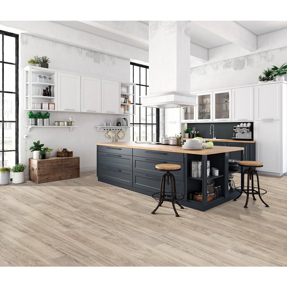 Trafficmaster Lakeshore Pecan Stone 7mm Thick X 7 2 3 In Wide X 50 5 8 In Length Laminate Flooring 24 17 Sq Ft In 2020 Stone Laminate Laminate Flooring Flooring