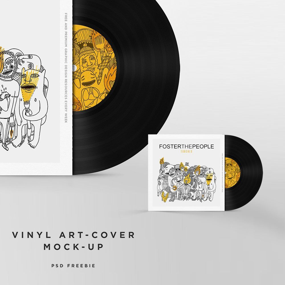 Nice Vinyl Disc Cover Art Mockup Free PSD Template Download Vinyl – Psd Album Cover Template