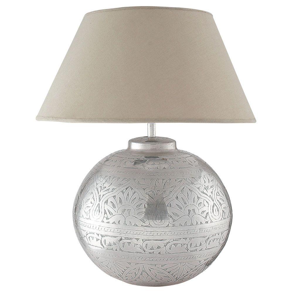 Lampe en laiton et abat jour en tissu h 50 cm salvador maisons du monde n - Lampe maison du monde ...