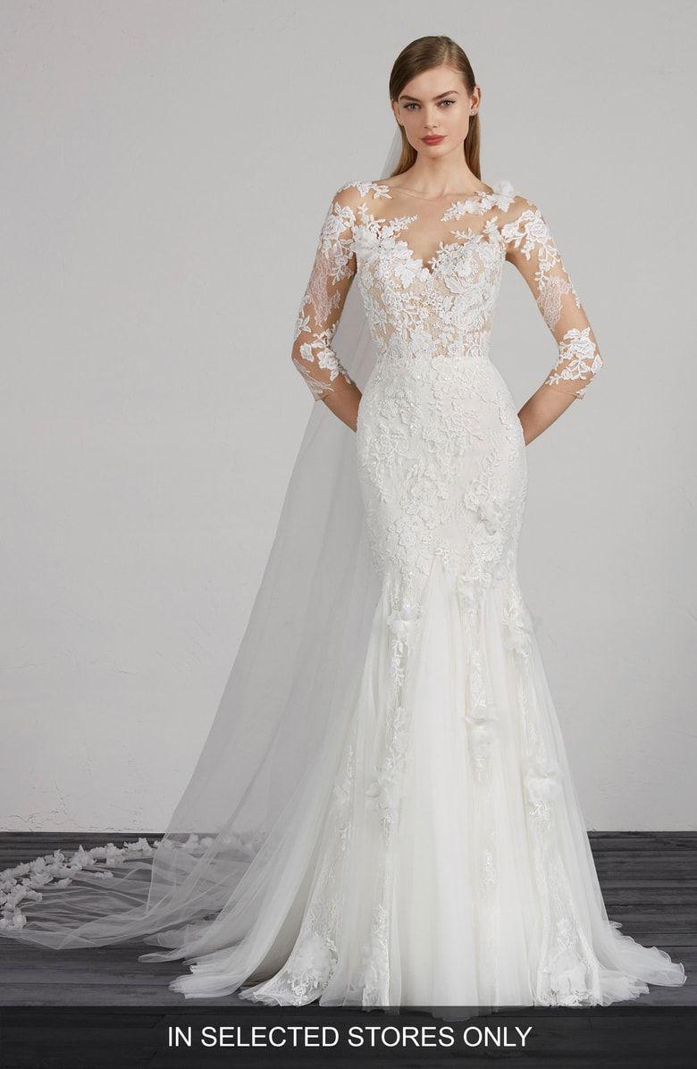 Pronovias Maden Lace Applique Mermaid Wedding Dress Nordstrom Lovely Wedding Dress Lace Mermaid Wedding Dress Bridal Dresses