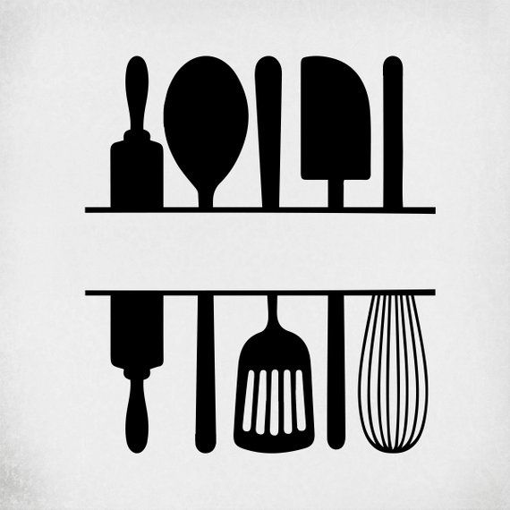 Split Kitchen Utensils svg, Cut Files for Cricut & Silhouette, Mirrored jpeg, Printable png, Instant Download