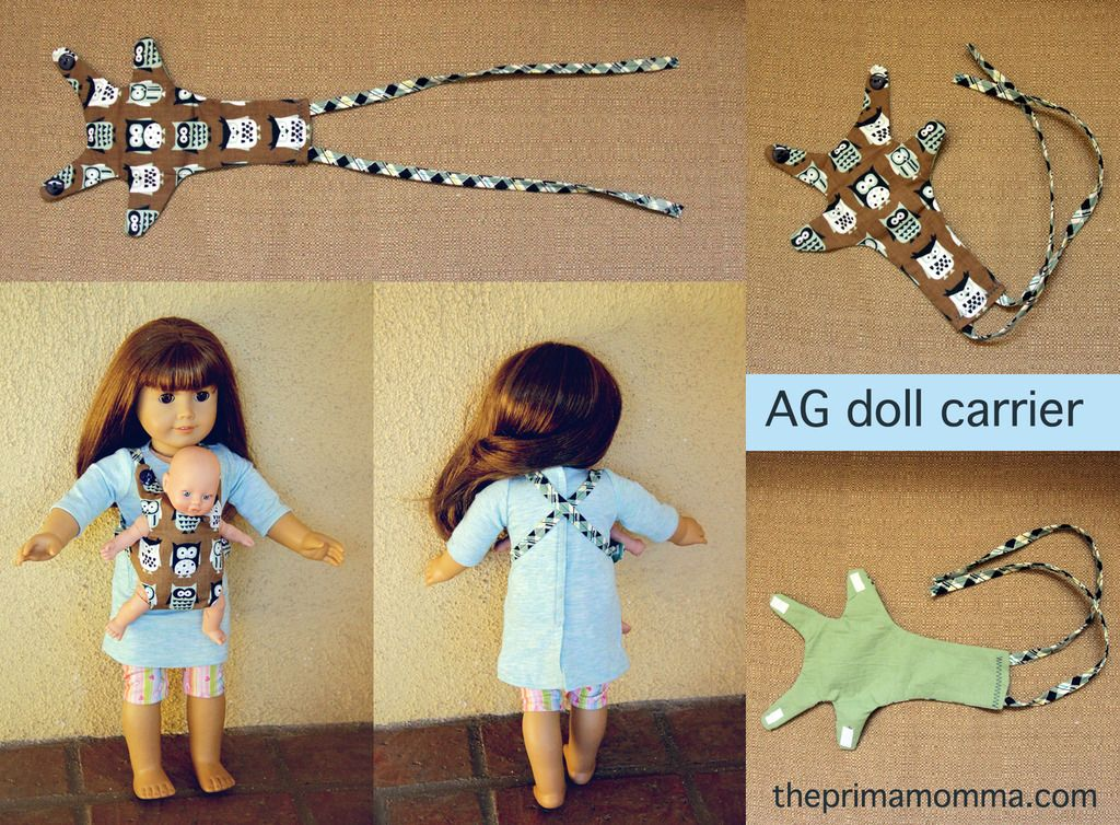 Baby carrier for American Girl dolls. Free pattern. Make a cute baby bjorn for your AG doll! #Americangirldoll #freepattern