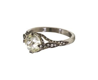 Rustic Diamond Petal Side Ring by Cathy Waterman Love jewellery
