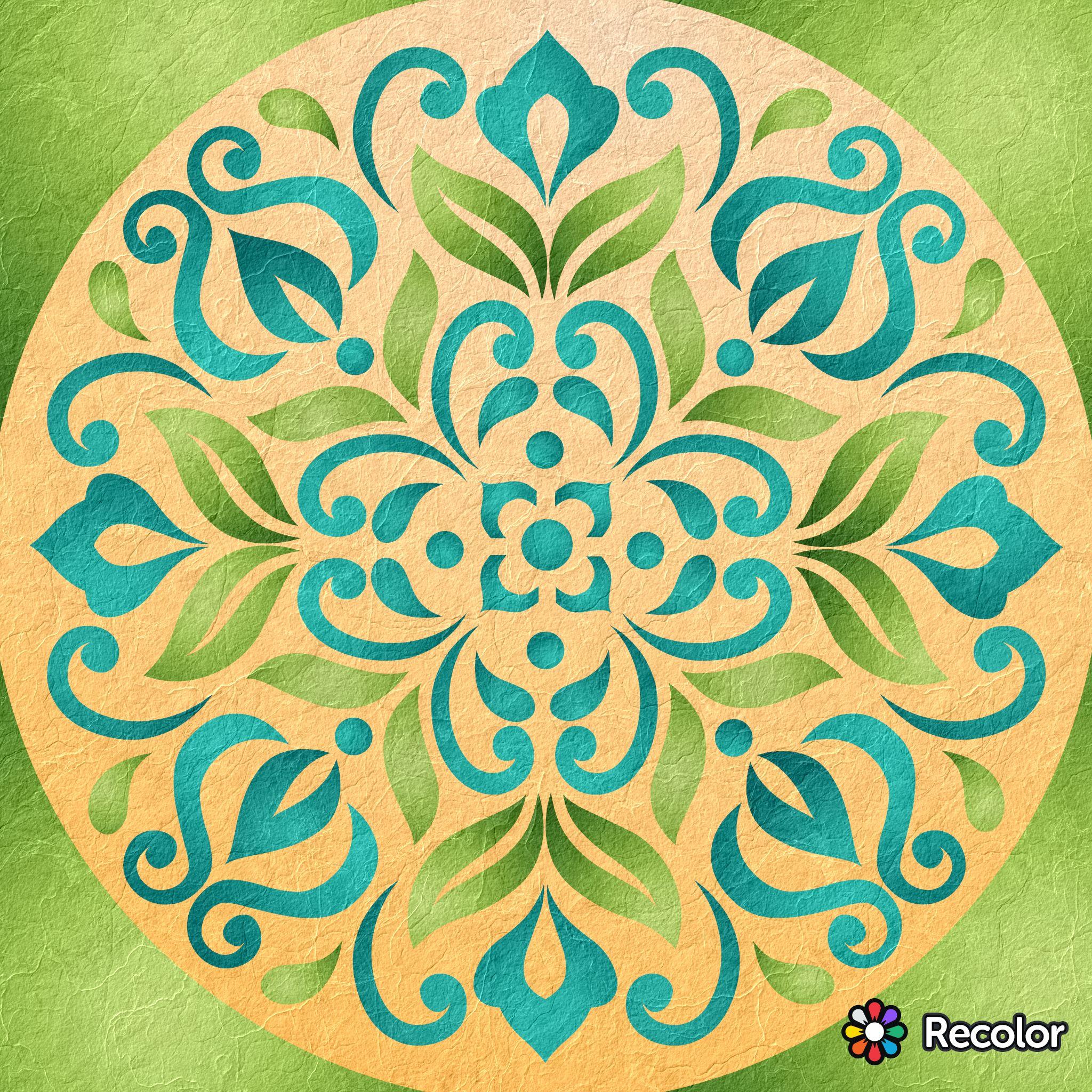 Teal Green Peach Mandala Gradient Colors With Art Paper Effect Bunte Bilder Bunt Bilder